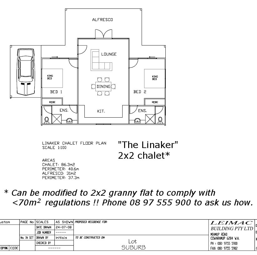 2x2 chalet plan can be converted to 1x1 granny flat